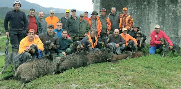 La cuadrilla número 11 del coto llanisco de Socoa regresó a la villa con el cupo de cinco cerdos salvajes, de 90, 75, 60, 30 y 30 kilos, apiolados en el cuartel de La Mar. :: V. B. A.