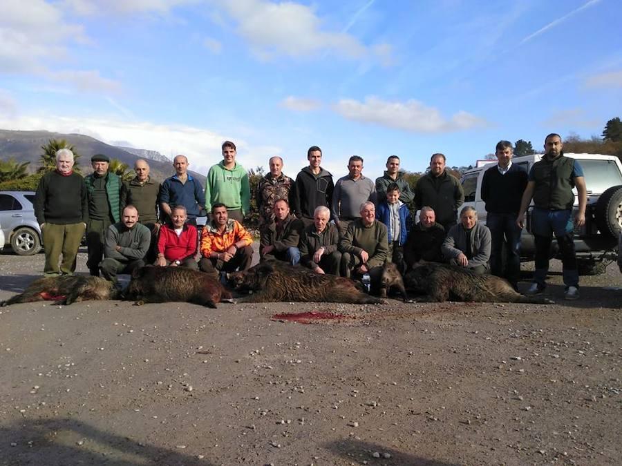La palomilla piloñesa que gestiona Ismael Cofiño, con cinco verracos de 80, 60, 50, 40 y 35 kilos, cobrados en el lote de Cayón. :: Asdeca